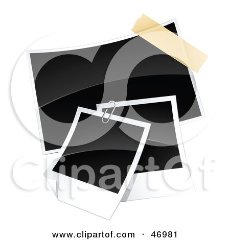 Royalty-Free (RF) Clipart Illustration of Three Blank Polaroid Pictures Paperclipped And Taped Together by beboy