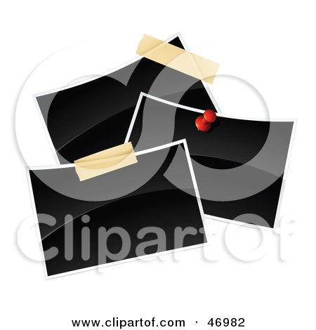 Royalty-Free (RF) Clipart Illustration of Three Blank Polaroid Pictures Pinned And Taped Together by beboy