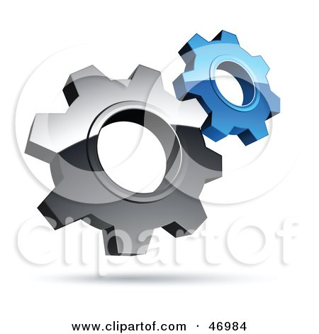 Royalty-Free (RF) Clipart Illustration of a Pre-Made Logo Of Silver And Blue Gear Cog Wheels by beboy