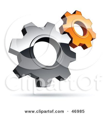 Royalty-Free (RF) Clipart Illustration of a Pre-Made Logo Of Silver And Orange Gear Cog Wheels by beboy