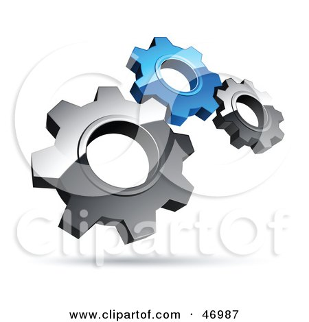 Royalty-Free (RF) Clipart Illustration of a Pre-Made Logo Of Silver And Blue Gears by beboy