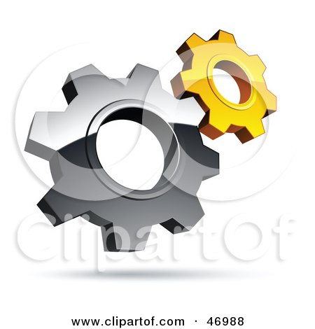 Royalty-Free (RF) Clipart Illustration of a Pre-Made Logo Of Silver And Yellow Gear Cog Wheels by beboy