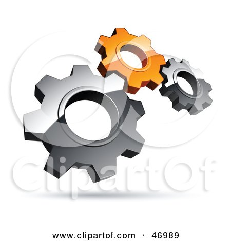 Royalty-Free (RF) Clipart Illustration of a Pre-Made Logo Of Silver And Orange Gears by beboy