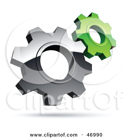 Royalty-Free (RF) Clipart Illustration of a Pre-Made Logo Of Silver And Green Gear Cog Wheels by beboy