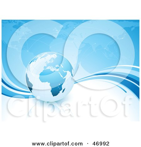 Royalty-Free (RF) Clipart Illustration of a Globe With Africa Riding On A Wave In Front Of A Map by beboy