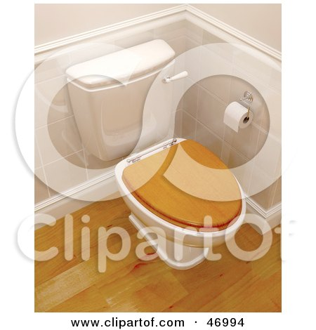 Royalty-Free (RF) Clipart Illustration of a 3d Toilet With A Wooden Lid In A Bathroom With Wood Floors by KJ Pargeter