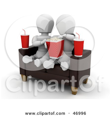 Royalty-Free (RF) Clipart Illustration of a White Character Couple Watching A Movie And Sharing Popcorn by KJ Pargeter