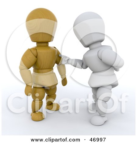 Royalty-Free (RF) Clipart Illustration of a 3d White Character Touching A Wooden Character by KJ Pargeter