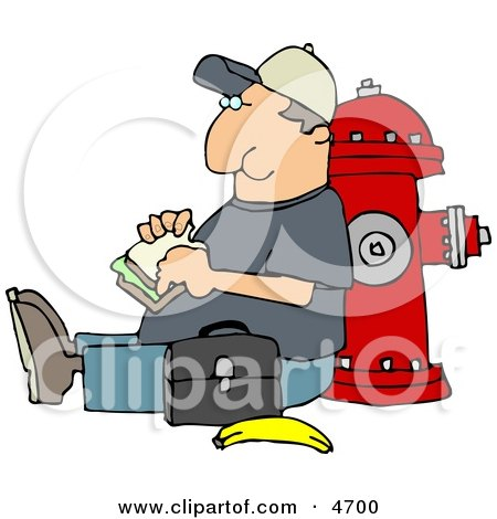 Male Worker Eating His Lunch Outside Against a Fire Extinguisher Clipart by djart