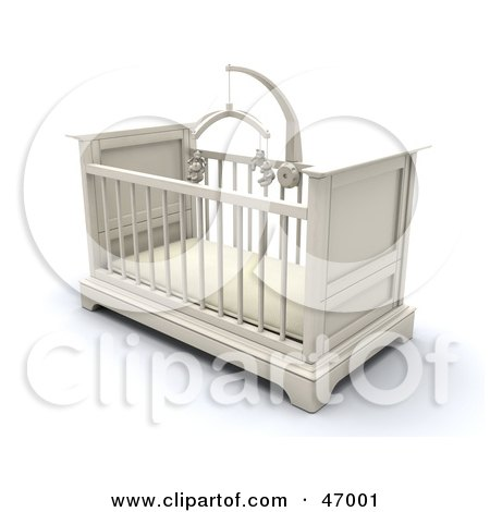 Royalty-Free (RF) Clipart Illustration of a White Wooden Baby Crib In A Nursery With A Teddy Bear Mobile by KJ Pargeter