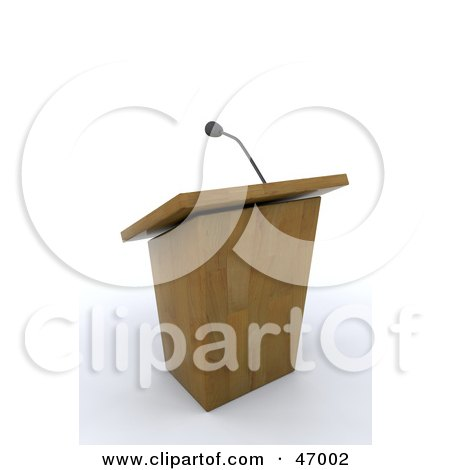 Royalty-Free (RF) Clipart Illustration of a Deserted Wooden Lectern And Microphone by KJ Pargeter