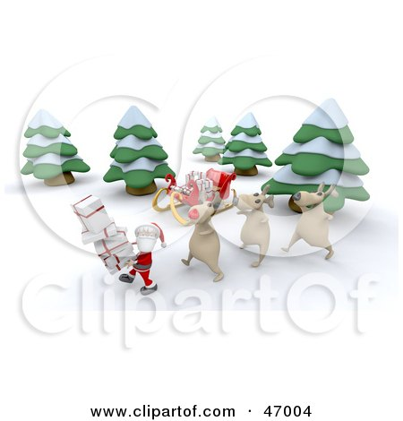Royalty-Free (RF) Clipart Illustration of 3d Reindeer Following Behind Santa Claus As He Carries Gifts In The Woods by KJ Pargeter