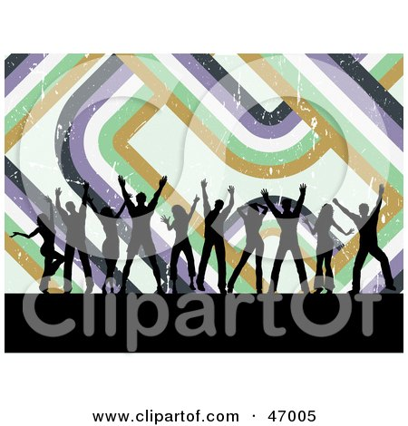 Royalty-Free (RF) Clipart Illustration of a Background Of Black Silhouetted Dancers With Retro Lines by KJ Pargeter