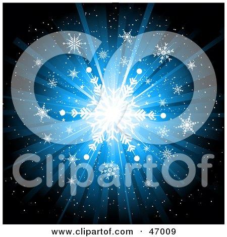 Bright Blue Snowflake Burst Background Posters, Art Prints