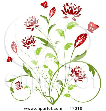 Royalty-Free (RF) Clipart Illustration of a Beautiful Green Plant With Red Blossoms by KJ Pargeter