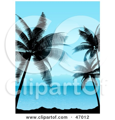 Royalty-Free (RF) Clipart Illustration of a Tropical Summer Scene Of Blue Waters And Silhouetted Palm Trees by KJ Pargeter