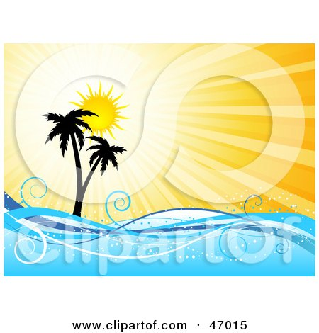 Royalty-Free (RF) Clipart Illustration of a Summer Burst Behind Silhouetted Palm Trees And Waves by KJ Pargeter