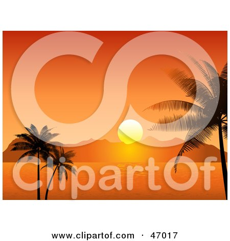 Royalty-Free (RF) Clipart Illustration of a Stunning Orange Setting Sun Behind Island Mountains, Framed By Palm Trees by KJ Pargeter