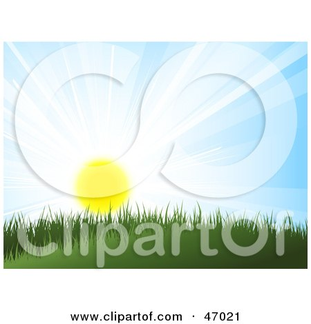 Royalty-Free (RF) Clipart Illustration of The Summer Sun Shining Over Grass on a Hill by KJ Pargeter