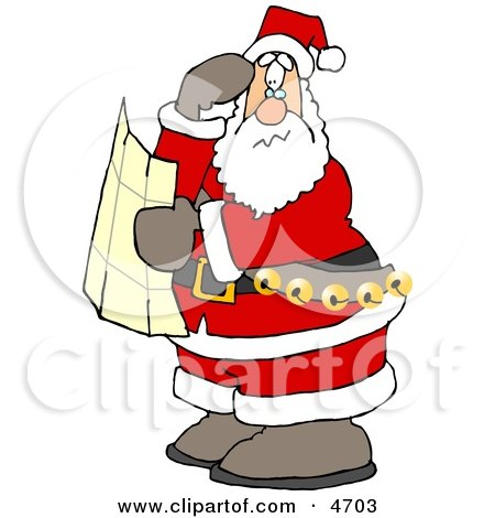 Lost Santa Clause Holding a Map and Looking for Directions Clipart by djart