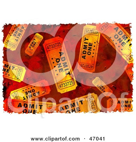 Clipart Illustration of a Grungy Background Of Orange Tickets by Prawny
