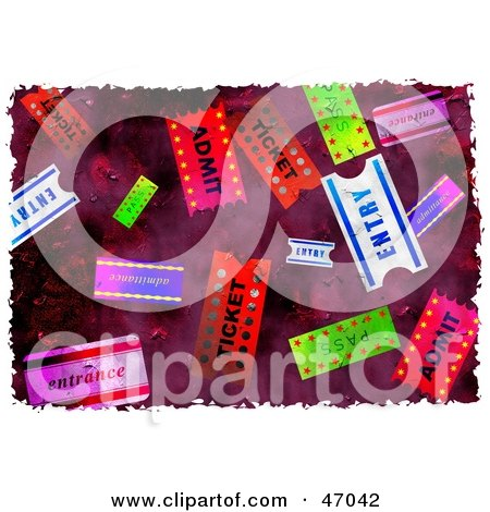 Clipart Illustration of a Grungy Background Of Colorful Tickets by Prawny