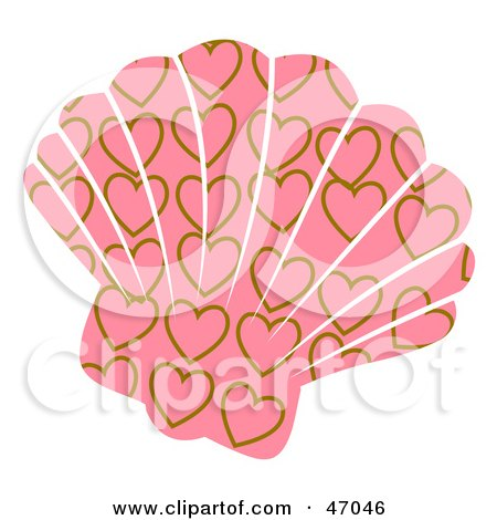 Clipart Illustration of a Heart Patterned Pink Scallop Sea Shell by Prawny