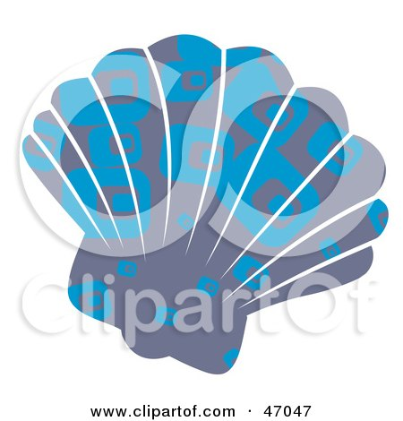 Clipart Illustration of a Rectangle Patterned Blue Scallop Sea Shell by Prawny