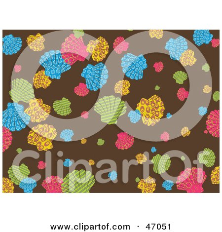 Clipart Illustration of a Brown Background Of Colorful Scallop Shells by Prawny