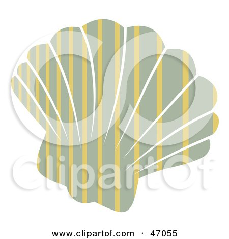Clipart Illustration of a Stripe Patterned Gray Scallop Sea Shell by Prawny