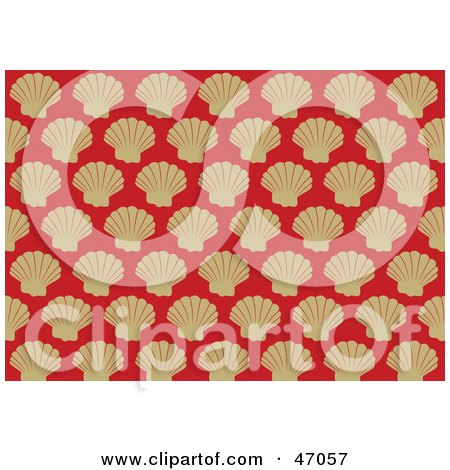 Clipart Illustration of a Red Background Of Beige Victorian Scallop Shells by Prawny