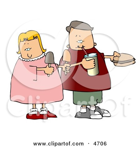 Boy and Girl Eating Food Together Clipart by djart