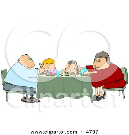 Family Eating Dinner Meal Together at the Dining Room Table Clipart by djart
