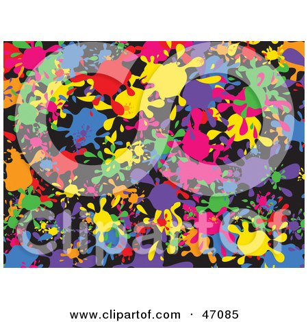 Clipart Illustration of a Black Background With Colorful Splats by Prawny