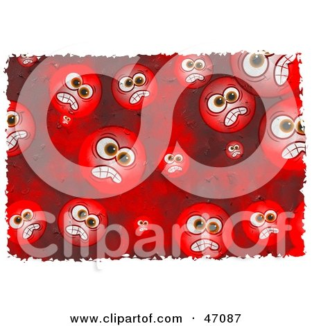 Clipart Illustration of a Background Of Red Grungy Mad Faces by Prawny