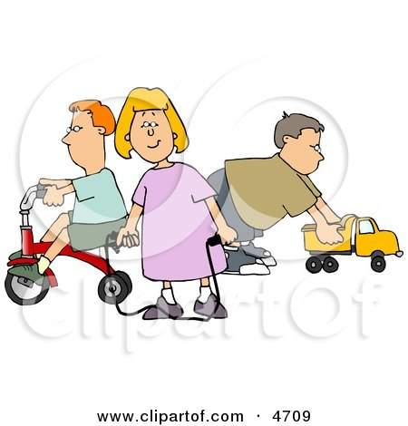 Young Girl and Boys Playing with Toys Clipart by djart