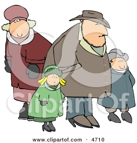 Family Going Out Together During the Winter Season Clipart by djart