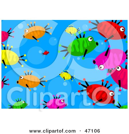 Clipart Illustration of a Bubbly Blue Background With Colorful Fish by Prawny