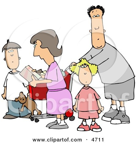 Family Grocery Shopping Together Clipart by djart