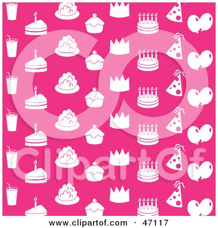 Clipart Illustration of a Pink Background With White Drinks, Cakes, Cupcakes, Crowns, Party Hats And Balloons by Prawny