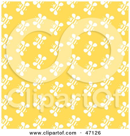 Clipart Illustration of a Yellow Background With Rows Of White Bees by Prawny