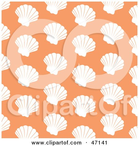 Clipart Illustration of a Pastel Orange Background Of White Scallops by Prawny