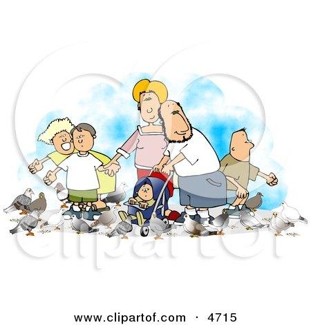 Happy Family Feeding Pigeons Posters, Art Prints