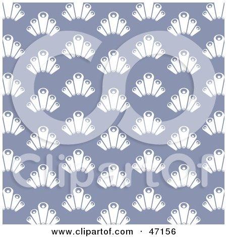 Clipart Illustration of a Purple Background Of White Scallop Designs by Prawny