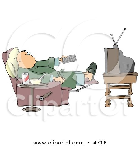 Couch Potato Man Holding The Tv Remote Controller Clipart