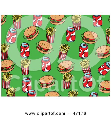 Clipart Illustration of a Green Background Of Burgers, Fries And Soda by Prawny