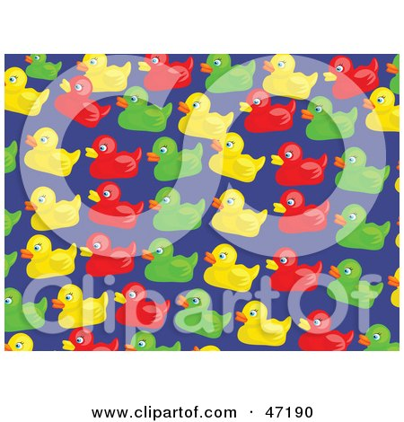 Clipart Illustration of a Blue Background Of Colorful Duckies by Prawny