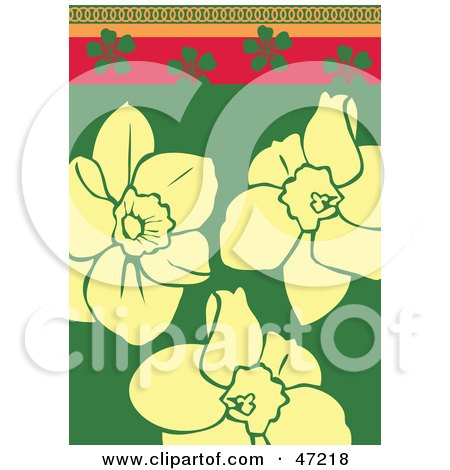 Clipart Illustration of an Abstract Beige Daffodil Background by Prawny