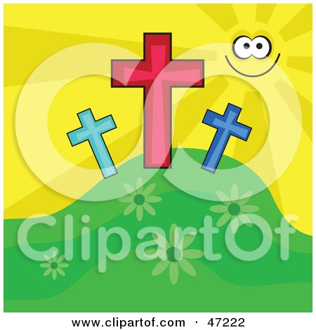 Clipart Illustration of a Happy Sun Smiling And Shining On Three Crosses On A Hill by Prawny