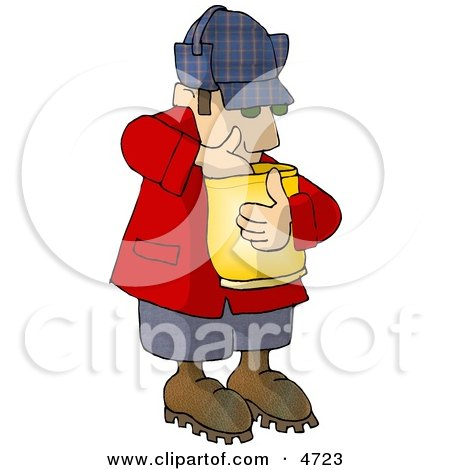Hungry Woodsman Eating Food From a Bag Posters, Art Prints